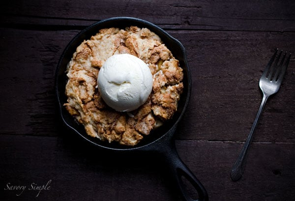 Skillet Apple Cobbler - an easy to prepare dessert that's sure to be a crowd pleaser at holiday parties!