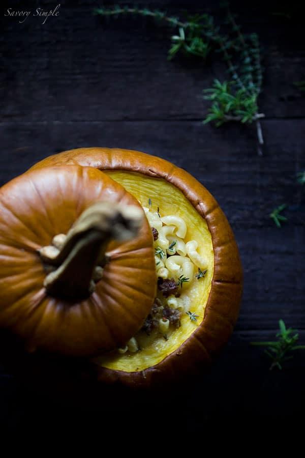 Pumpkin Stuffed with Fontina, Italian Sausage