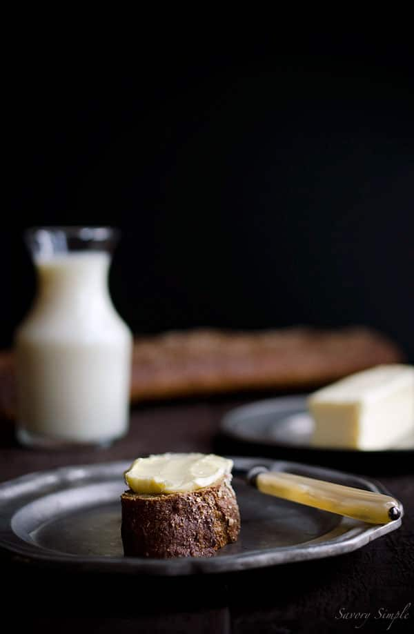 Homemade Cultured Butter has only 2 ingredients and is easy to make at home!