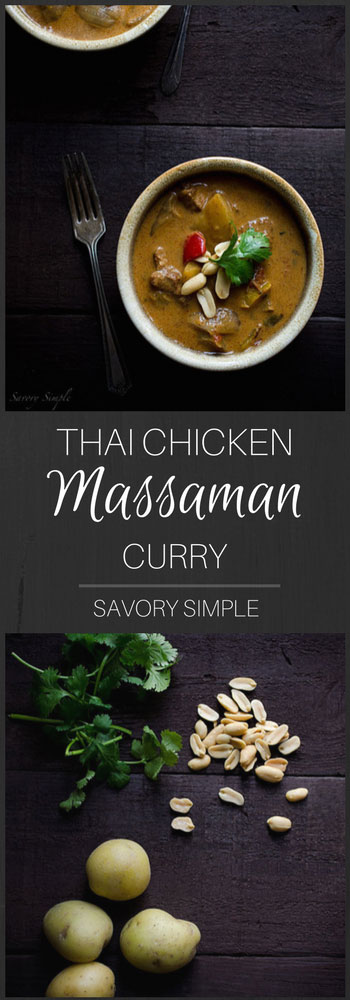 Thai Chicken Massaman Curry is an easy, gluten-free weeknight dinner option. It has a wonderful flavor-- mild and just slightly sweet from the coconut milk. This chicken curry recipe it a one pot dinner that comes together in 30 minutes.