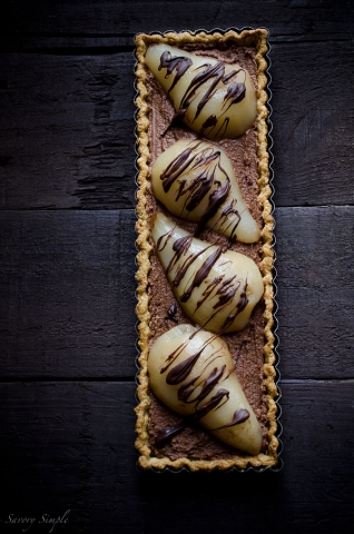 Chocolate Mousse Poached Pear Tart