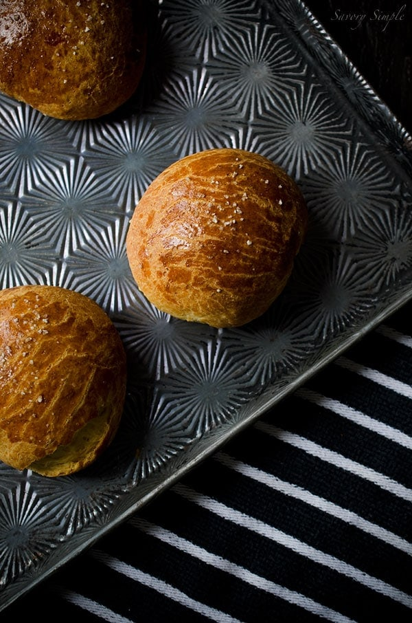 Use these Cheddar Brioche Buns for grilled cheese sandwiches or with cheeseburgers! They're also amazing dunked in stews or soups.