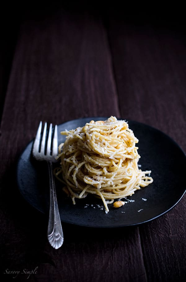 Spaghetti with Parmesan, Pine Nuts and Brown Butter Sauce - a simple, comforting dinner.