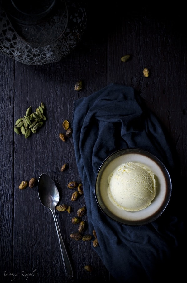 This cardamom ice cream with candied pistachios is a sweet and salty dessert with bold flavors!