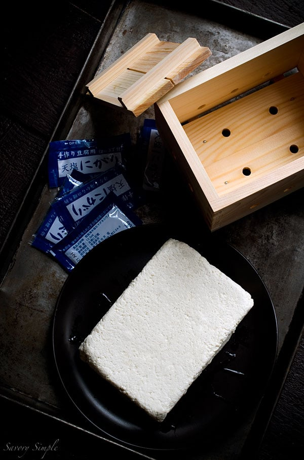 Homemade tofu is not easy to make and it tastes pretty much the same as the store-bought stuff. Still want to try it? Here's a recipe.