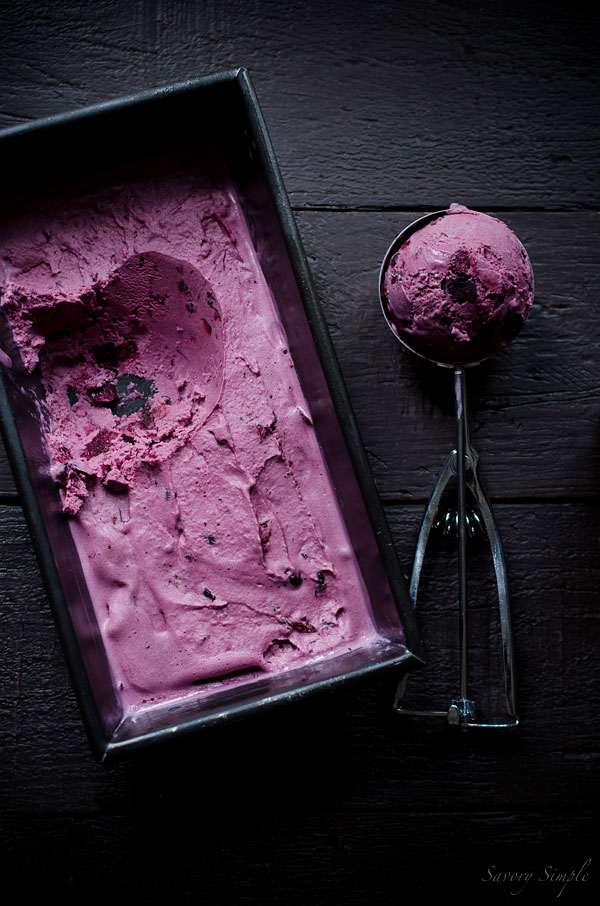 This Crème Fraîche Ice Cream is is bursting with sweet flavor from roasted blueberries. Creme fraiche adds a unique tartness and extra creamy texture.