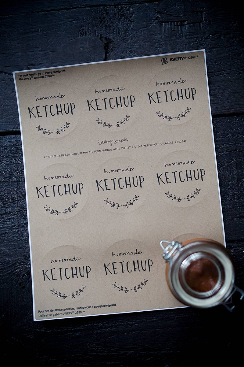 Homemade ketchup sticker labels