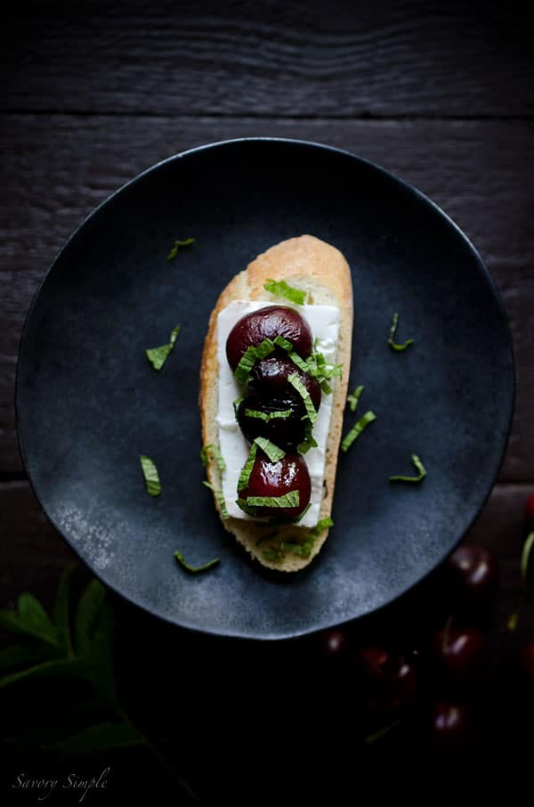 This Roasted Cherry, Feta and Mint Crostini is an easy spring appetizer that's bursting with flavor.
