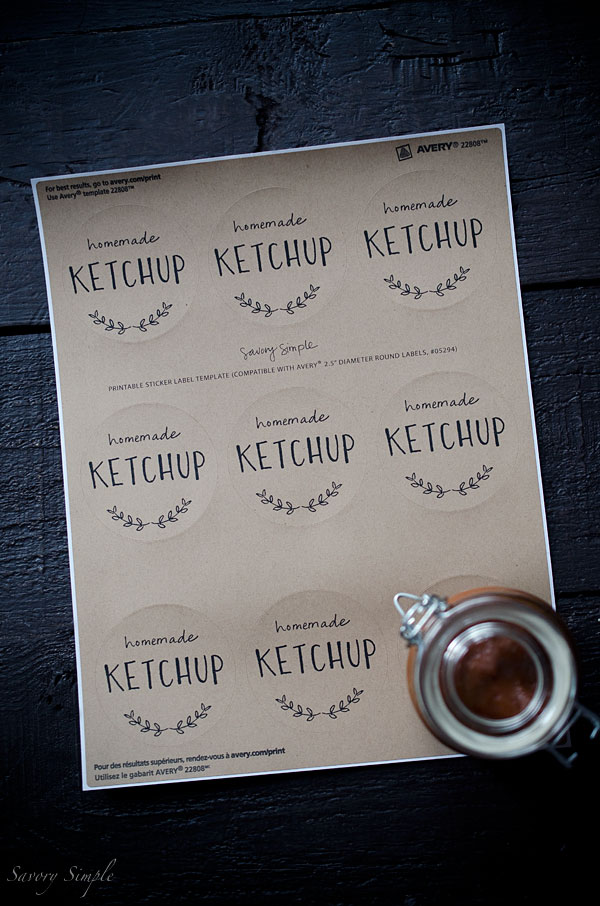 Tomato Rhubarb Ketchup is a perfect homemade sauce to celebrate the season. Rhubarb adds a tangy sweetness. Post includes free printable labels!