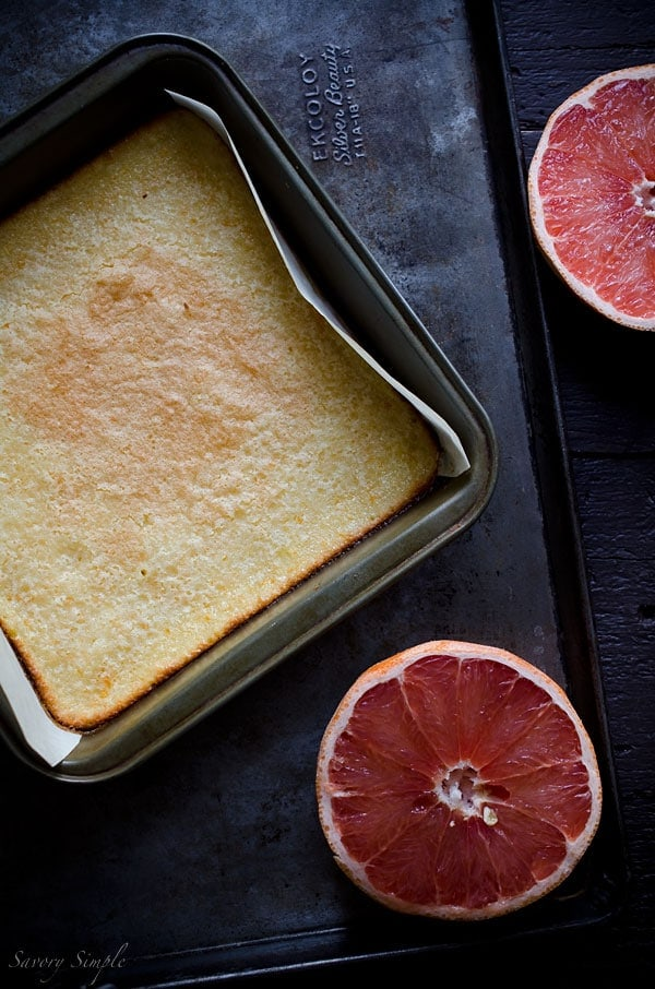 A photo of this grapefruit bar recipe, pre slicing.