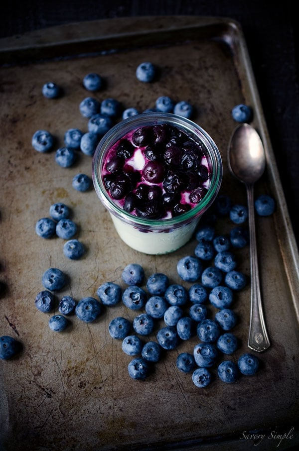 This Goat Cheese Mousse with Roasted Blueberries is a simple, light and elegant dessert that's perfect for summer. Only 4 ingredients!