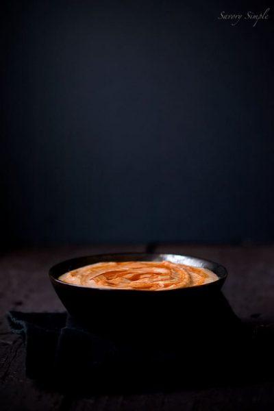 Sriracha Hummus ~ Savory Simple ~ www.savorysimple.net