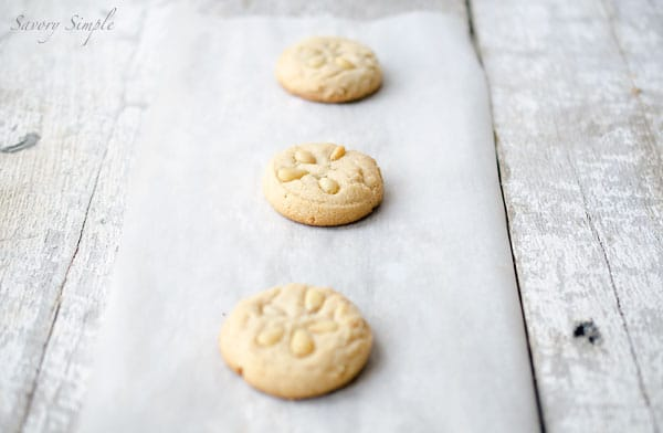 These pine nut tahini cookies have a delicate, flaky shortbread texture and a sweet sesame flavor.