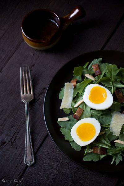 Arugula Salad with Soft Boiled Eggs, Bacon, and Shallot Dijon Vinaigrette - Savory Simple