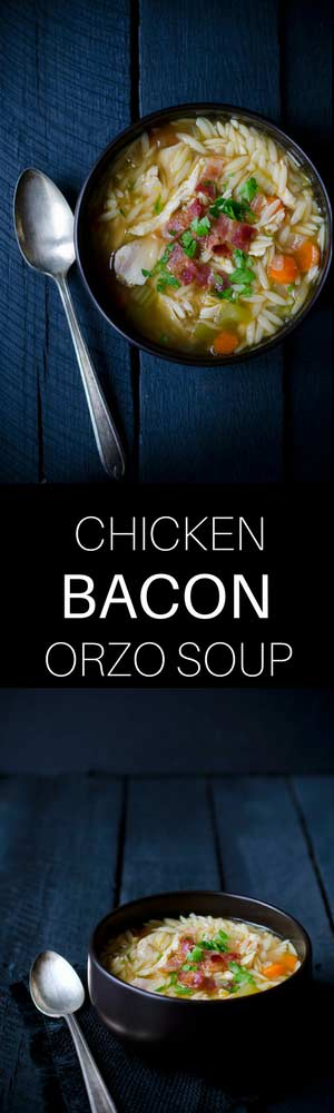 This one pot chicken and bacon orzo soup is perfect for chilly days or when you just need a warm bowl of comfort food.