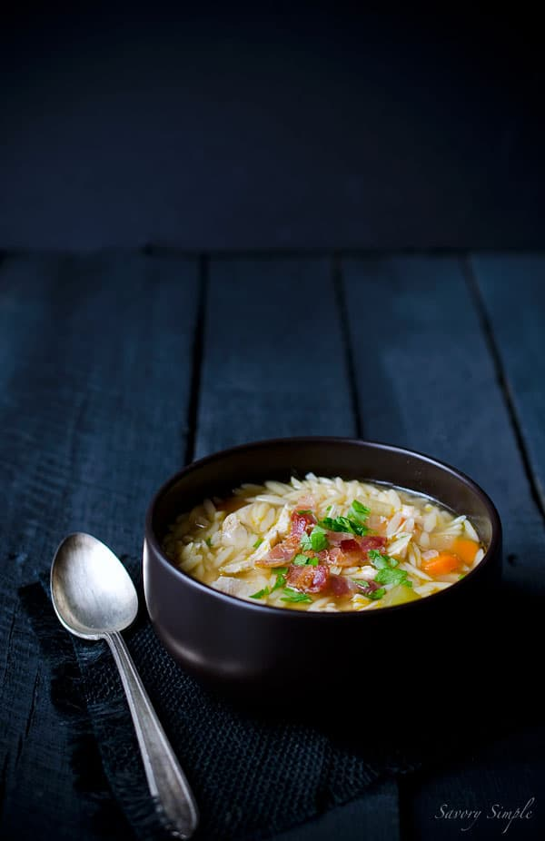 This one pot chicken and bacon orzo soup from Savory Simple is perfect for chilly days or when you just need a warm bowl of comfort food. #Soup #Autumn #Recipe www.savorysimple.net