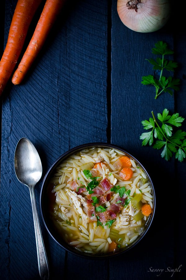One Pot Chicken and Bacon Orzo Soup is perfect for chilly nights!