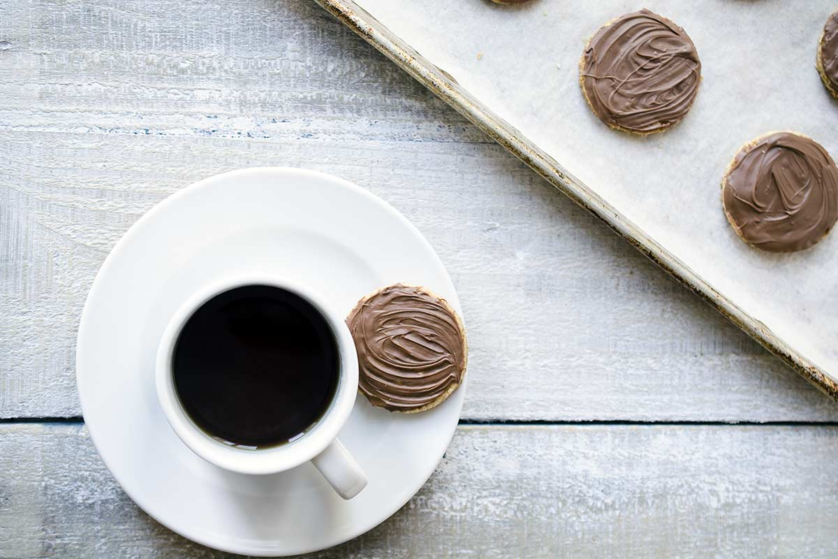 Homemade McVites chocolate digestive biscuits with tea