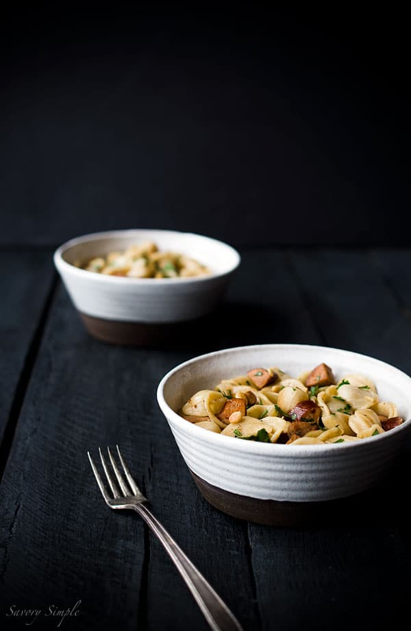 This recipe for Orecchiette with Andouille Sausage, Pine Nuts and Parsley is a hearty, flavorful dinner that's ready in under 30 minutes!