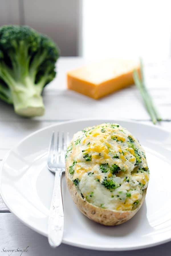 These Broccoli Cheddar Twice-Baked Potatoes are a vegetarian, easy-to-prepare side dish that the whole family will love. Get the recipe from SavorySimple.net