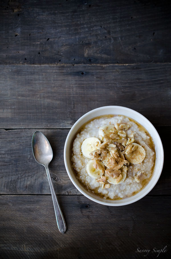 Banana Millet Breakfast Porridge is like healthy banana bread in a bowl! It's an easy, gluten-free breakfast that the whole family will love. Get the recipe from SavorySimple.net