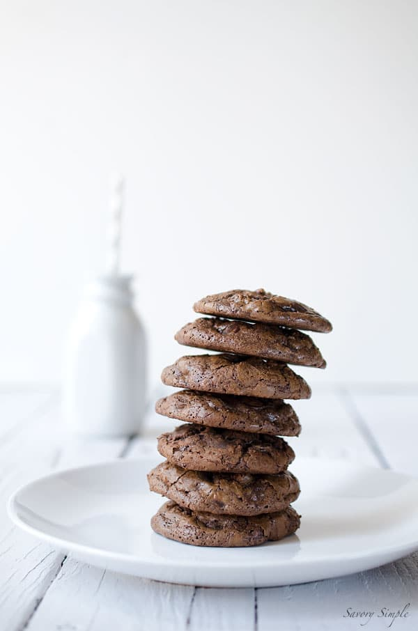 These Dark Chocolate Brownie Cookies are a perfect treat for chocolate lovers! Get the easy-to-prepare recipe from SavorySimple.net.