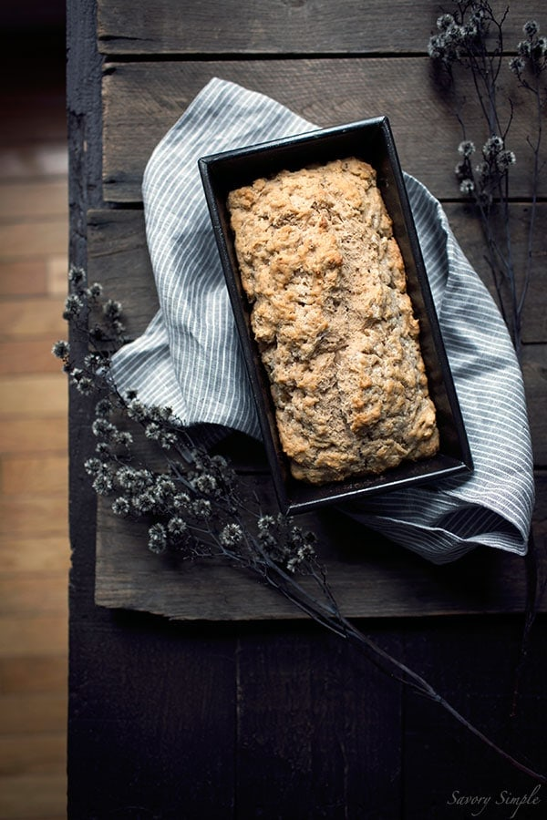 Spiced Pumpkin Beer Bread is an incredibly easy side dish! No yeast or kneading required. Perfect for Thanksgiving or alongside your favorite fall meals. Get the recipe from SavorySimple.net.