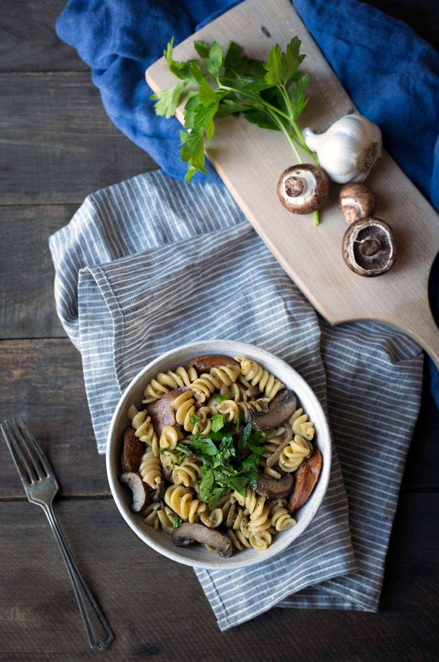 This creamy sausage mushroom pasta is an easy, hearty dinner perfect for any night of the week! Get the recipe from SavorySimple.net.