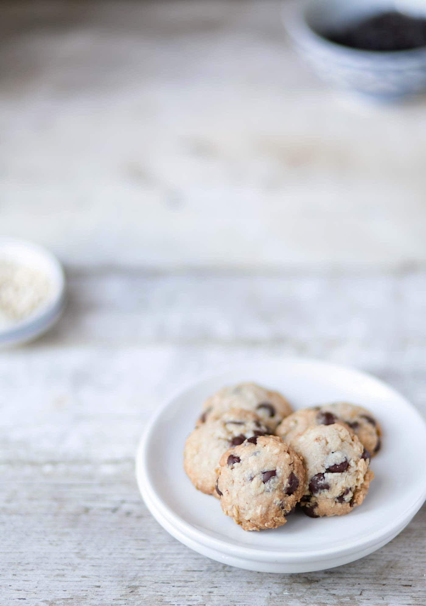 Chocolate Chip Oatmeal Shortbread Cookies are delicate, flaky & buttery. This easy recipe uses 6 basic ingredients that you probably already have on hand! Get the recipe from SavorySimple.net.