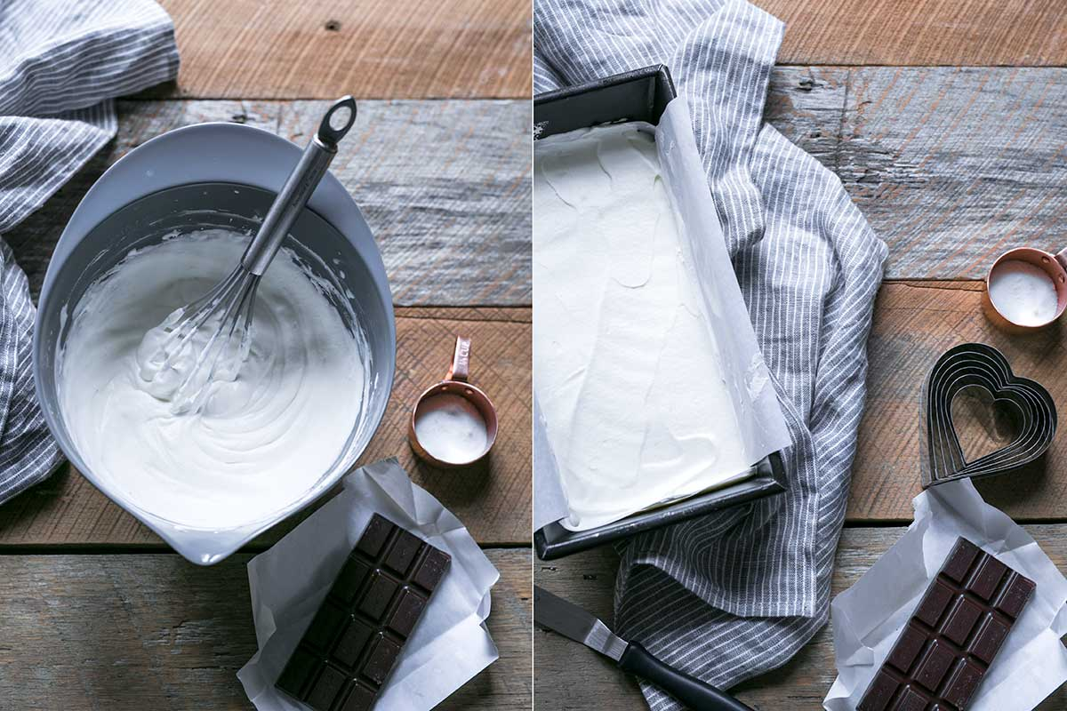 Process shots for frozen whipped cream hearts