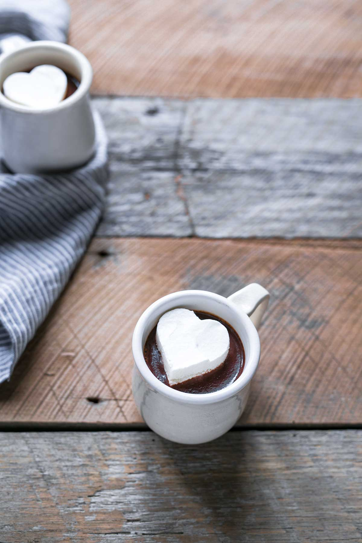 Two mugs with the hot chocolate recipe