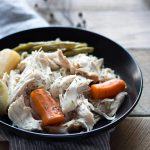 "Lemon-Herb Slow Cooker Whole Chicken is an easy ""set it and forget it"" meal. A few minutes of prep time is all you need for a flavor-packed dinner! SavorySimple.net"