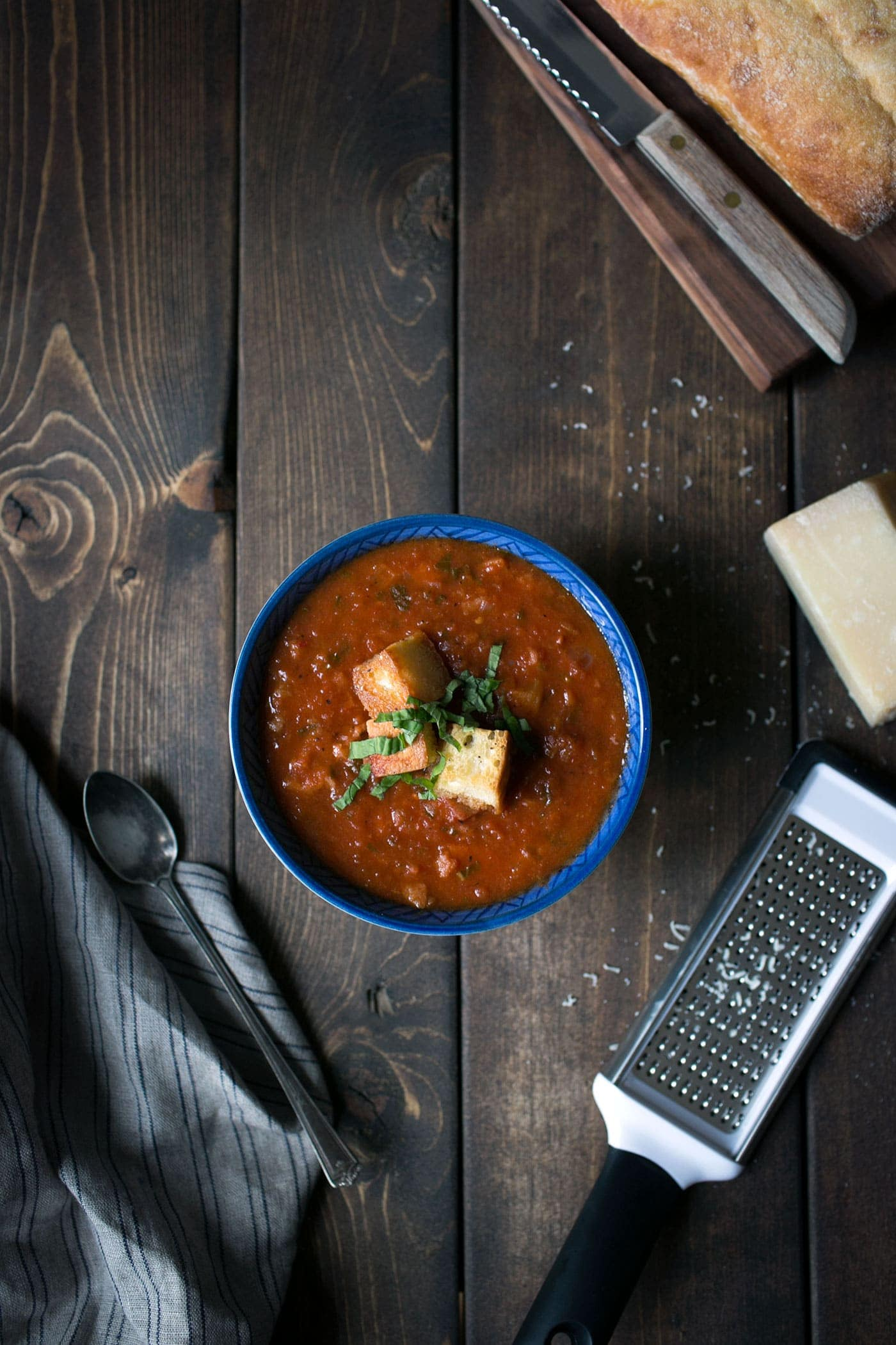 Pappa Al Pomodoro, aka Tomato Bread Soup, is a simple Tuscan soup that is total comfort food and perfect for enjoying year round! SavorySimple.net