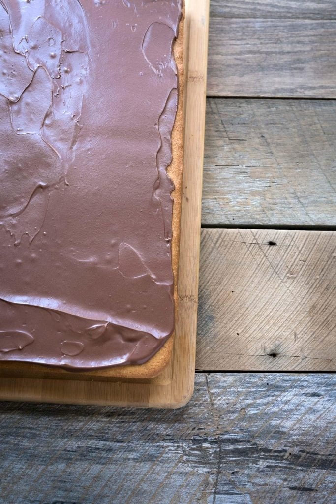 Yellow Sheet Cake with Chocolate Sour Cream Frosting is a perfect cake to serve at parties! The cake is tender, the frosting is sweet and tangy, and the entire thing can be prepped in advance. SavorySimple.net