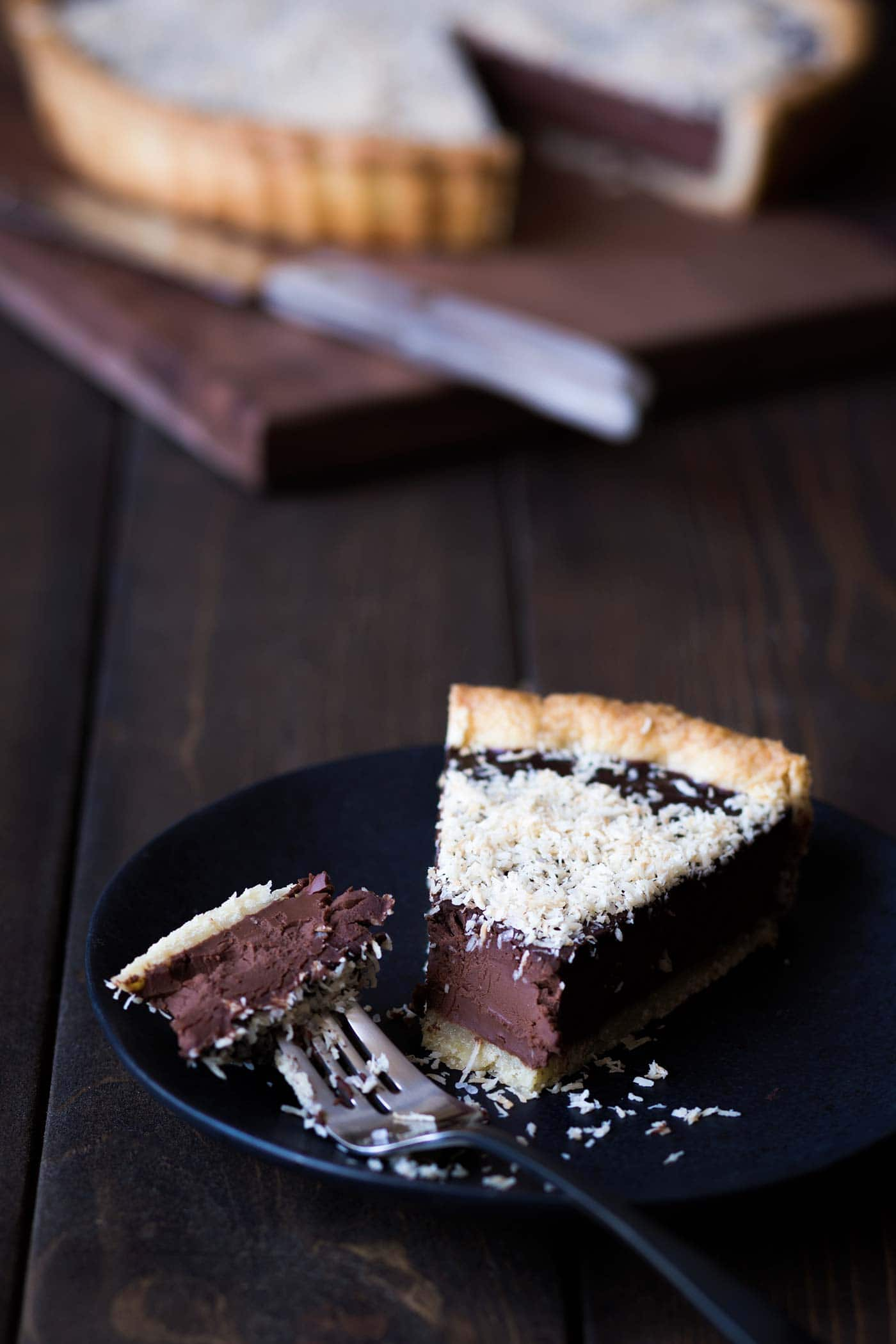 Bittersweet Chocolate Tart Recipe with Toasted Coconut and Sea Salt.