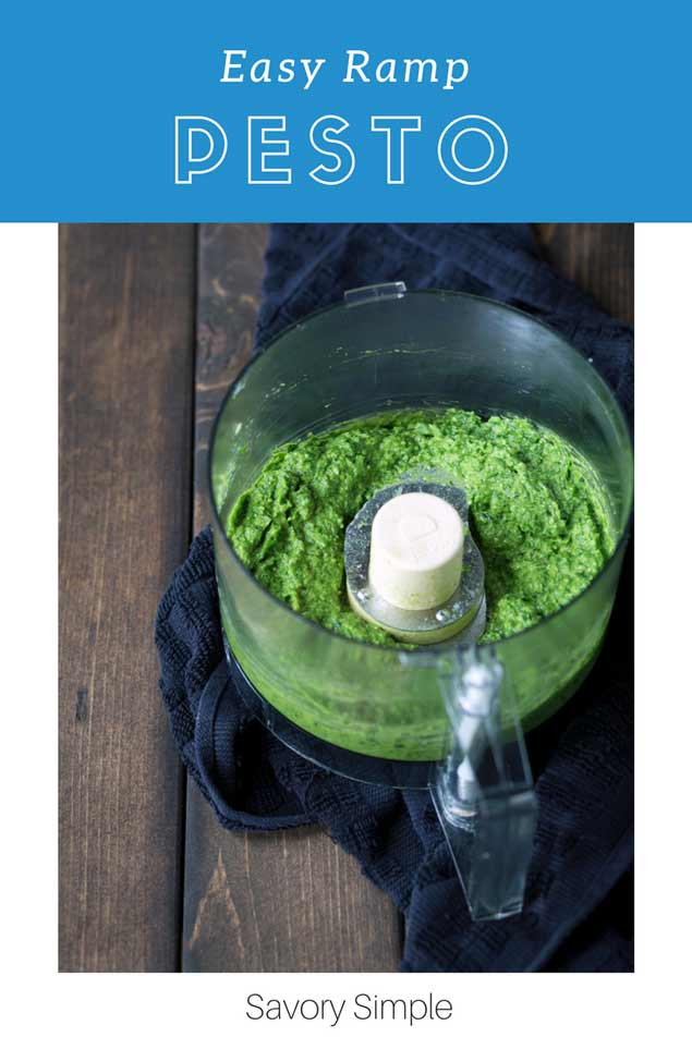 Ramp Pesto is a creamy, bold, flavorful condiment highlighting wild leeks. Add this spring treat to pasta, serve it with fish, meat or poultry, or spread it on crostini! Ramp pesto also freezes beautifully, making it a perfect way to preserve ramps so you can enjoy them throughout the year.
