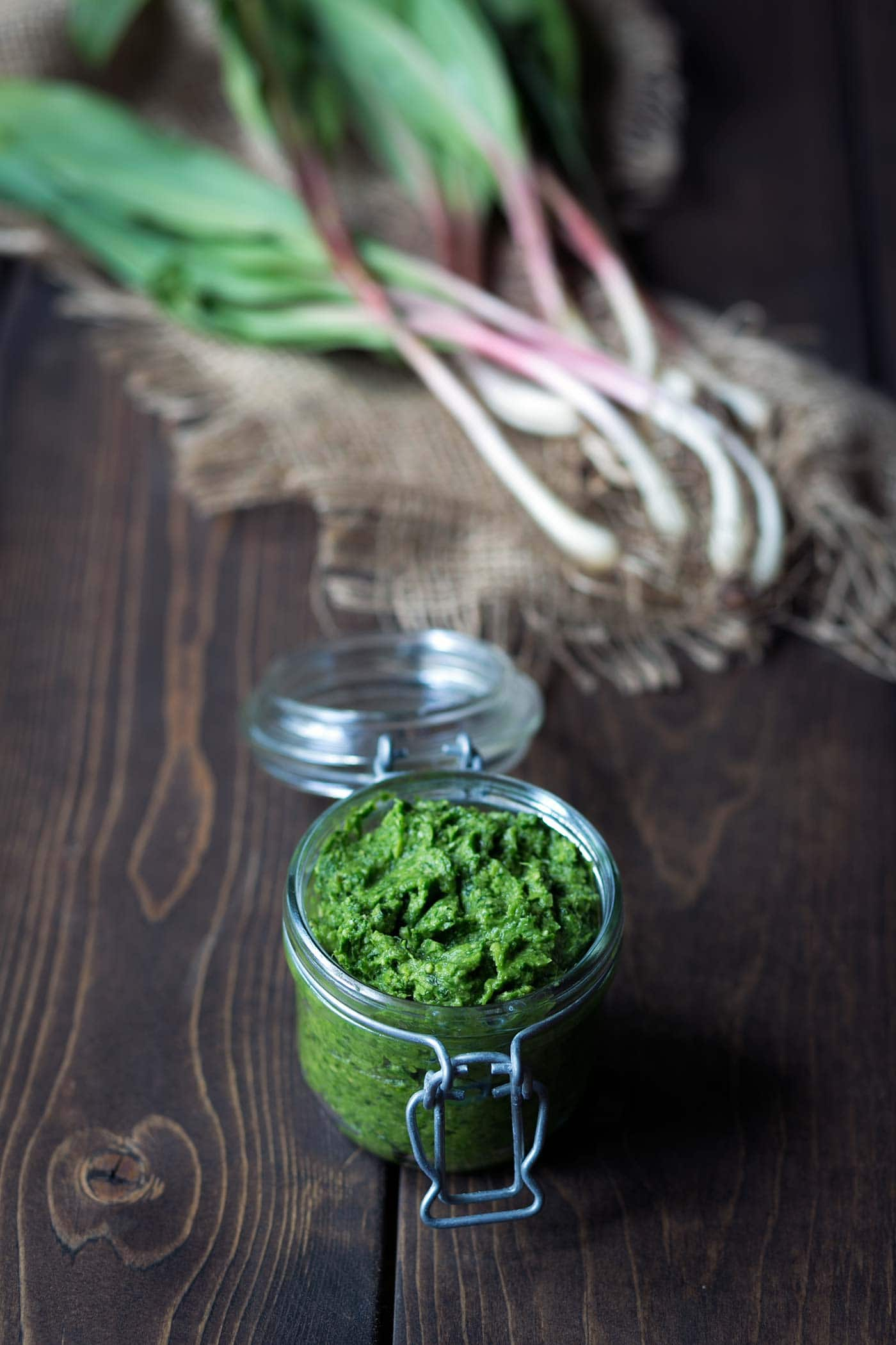Ramp Pesto is a creamy, bold flavored condiment highlighting wild leeks. Add it to pasta, serve it with fish, meat or poultry, or spread it on crostini! Get the recipe from SavorySimple.net