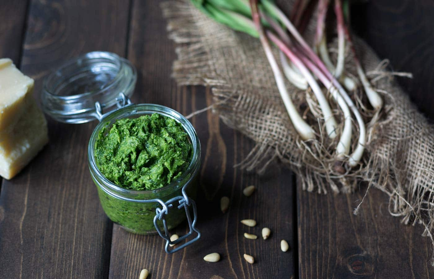 Ramp pesto in a jar (ramps food)