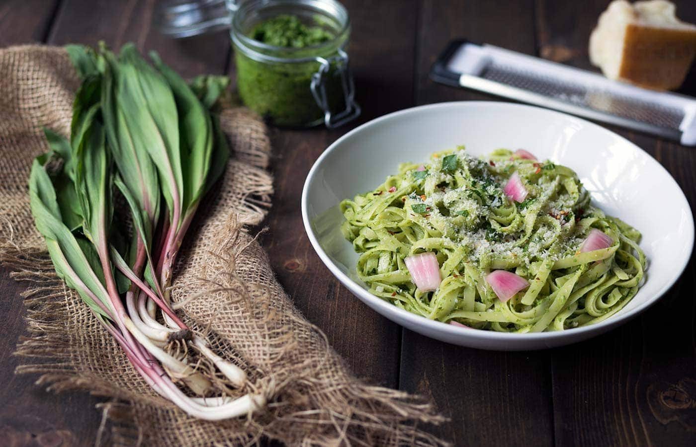 Ramp pesto pasta in a bowl