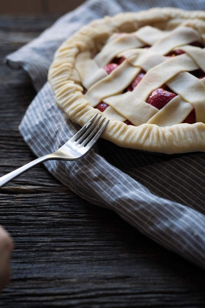 There's no better way to celebrate strawberry season than with this sweet, decadent strawberry pie! Get the recipe from SavorySimple.net.