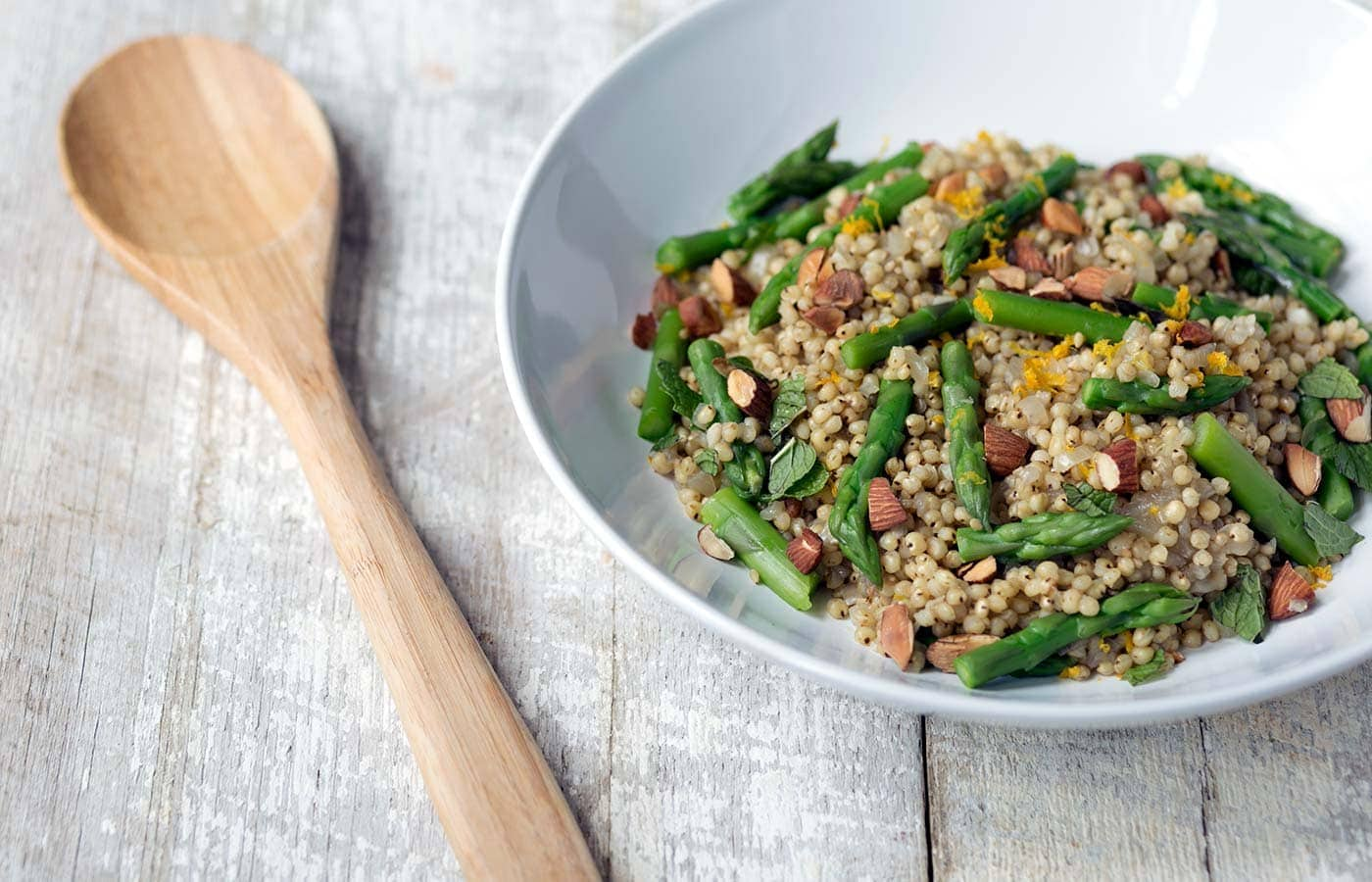 This flavorful Sorghum, Orange and Asparagus Salad is perfect as a side dish. It can also be served in larger portions for a healthy, gluten-free, vegetarian meal! SavorySimple.net