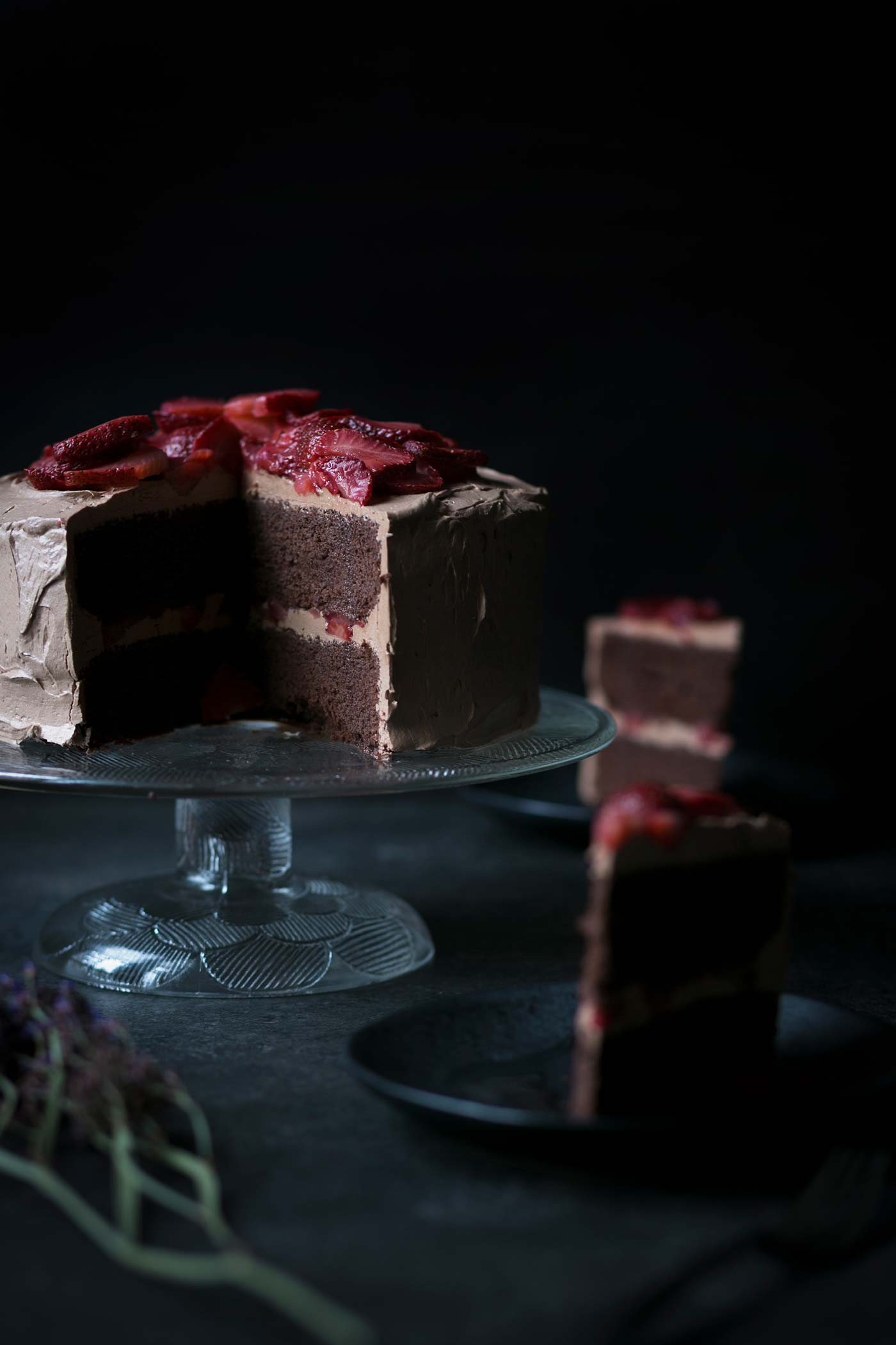 Chocolate Layer Cake with Macerated Strawberries - Savory Simple