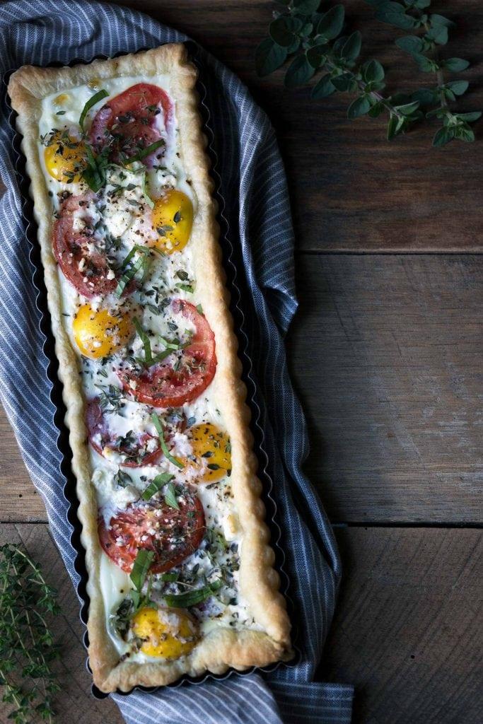 A photo of a tomato tart