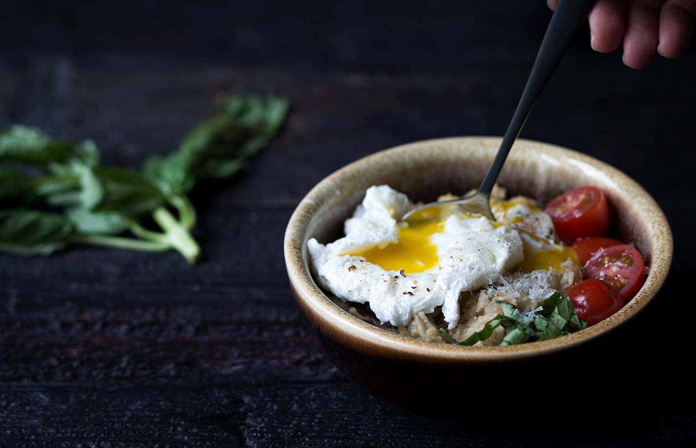 This savory oatmeal with poached eggs, mushrooms and parmesan is a cozy breakfast for two that comes together in no time. Get the recipe from Savory Simple.