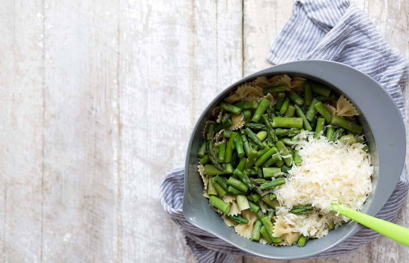 Pasta Salad with Asparagus, Asiago and Lemon is a light, seasonal side dish. Serve it at a barbecue or alongside a simple springtime dinner. SavorySimple.net