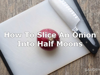 A short video demonstrating how to slice an onion into half moons.