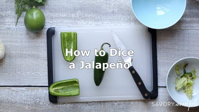 A short video demonstrating how to dice a pepper, such as a serrano or jalapeño.