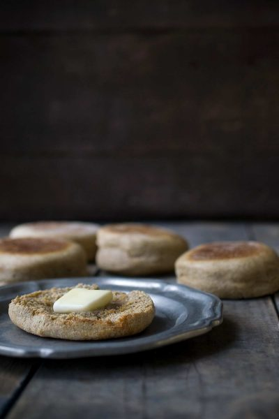 These whole wheat english muffins are a surprisingly easy breakfast option! Making english muffins from scratch is super satisfying!