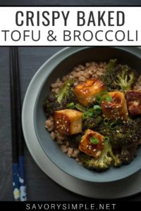 Easy baked tofu recipe in a bowl with text overlay