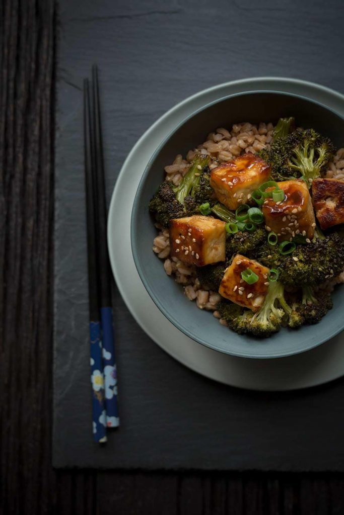 Crispy Baked Tofu with Broccoli Is a vegan, flavorful meal that comes together quickly! It can easily be made gluten-free.